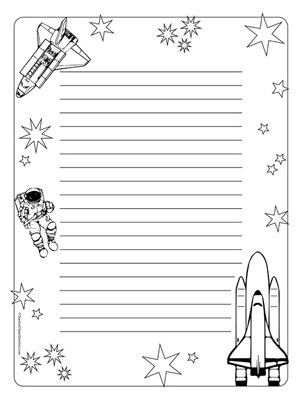 Space/Travel- Portrait Wide Rule - Teacher Clipart Borders