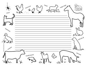 Farm Animals- Landscape- College Rule