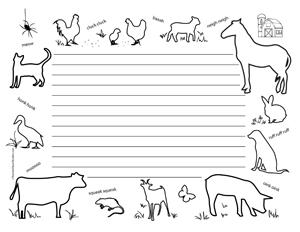 Farm Animals- Landscape- Wide Rule