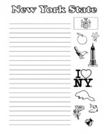 New York State Symbols- Portrait - Wide Rule