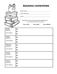 Reading Homework Log- Portrait