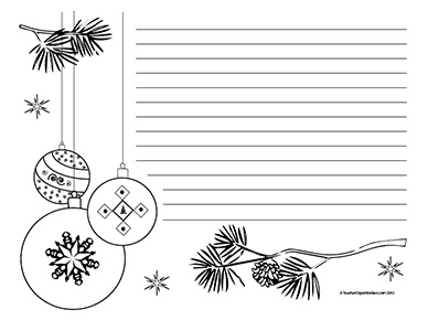 Christmas Tree Ornaments- Landscape- Wide Rule - Teacher ...