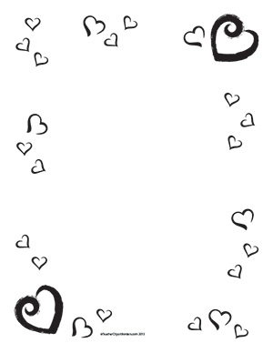 Valentine's Hearts - Portrait- Blank - Teacher Clipart Borders
