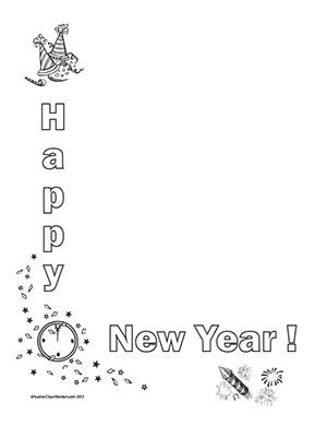 happy new year portrait blank