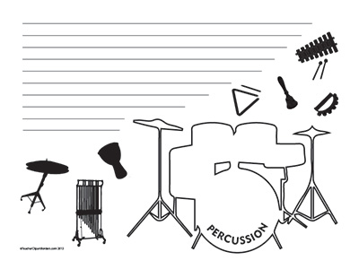 Music--Percussion--Landscape--Wide-Rule