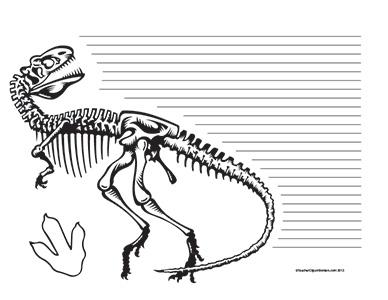 Dinosaurs--T-Rex--Landscape--College-Rule
