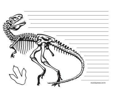 Dinosaurs--T-Rex--Landscape--Wide-Rule