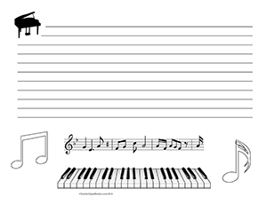 Piano-Keys--Music--Landscape--Wide-Rule