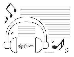 headphones--Landscape--College-Rule