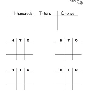 Hundreds Tens Ones Place Value Adding or Subtraction Sheet